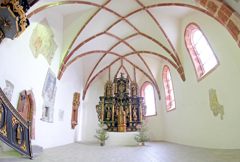 Pribylina - interior de la iglesia imagen de archivo