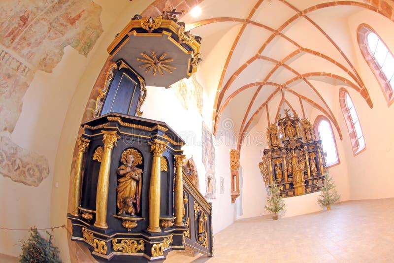 Pribylina - interior de la iglesia imagen de archivo libre de regalías