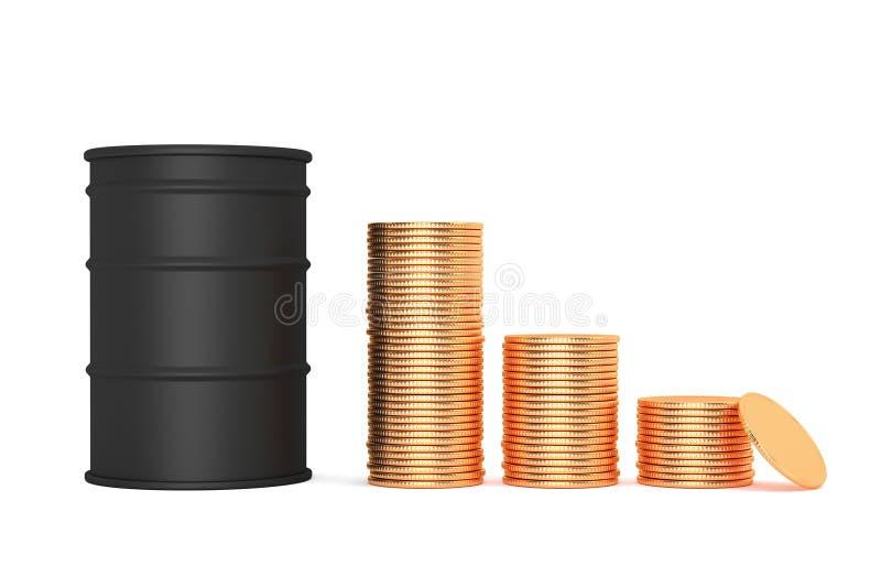 Price bretn down concept. Black oil barrel and money gold coins. Pile of coins, 3d illustration. Price bretn down concept. Black oil barrel and money gold coins vector illustration