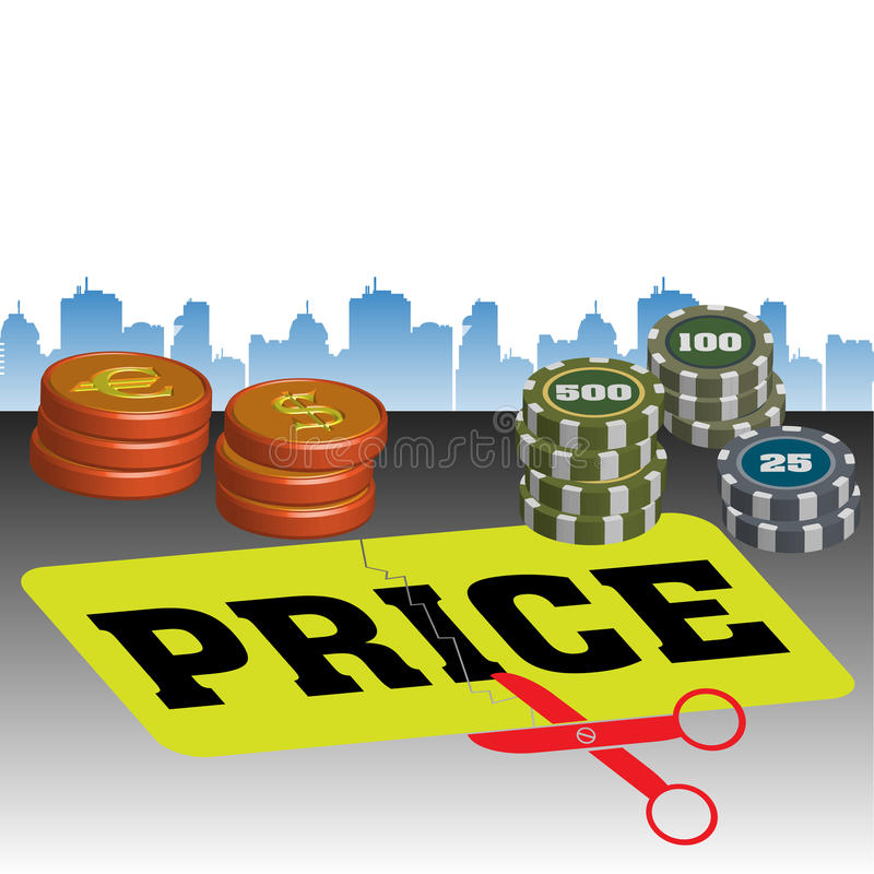 Price cut. Colorful illustration with scissors cutting the word price, colorful coins and building shapes in the background. Price cut concept stock illustration