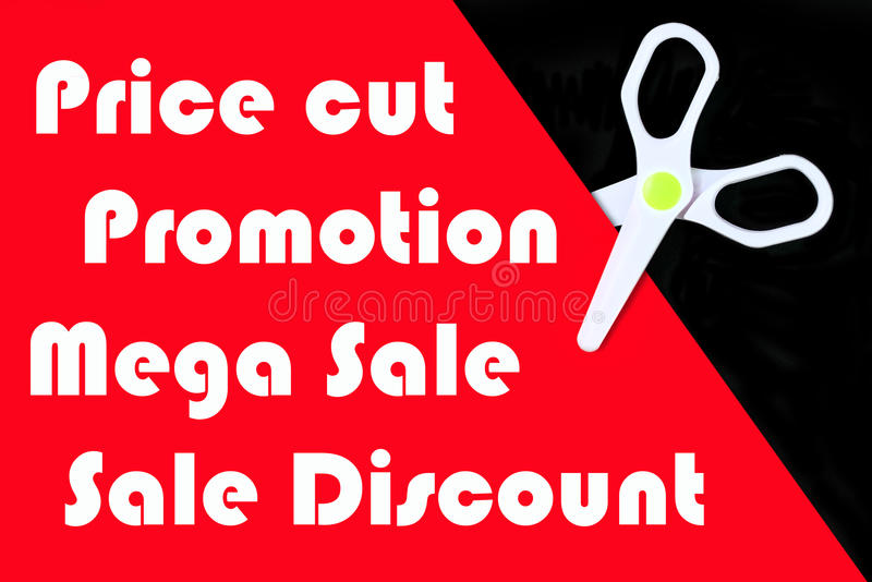 Price cut banner. Price cut promotion banner with white scissor royalty free illustration