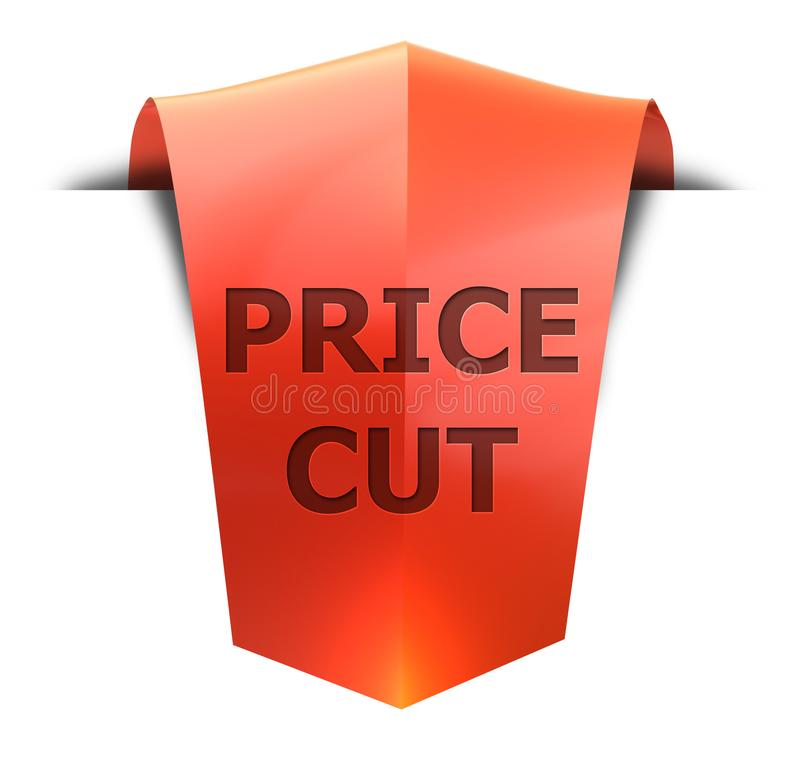 Banner price cut. Price cut 3D rendered red banner , isolated on white background royalty free illustration