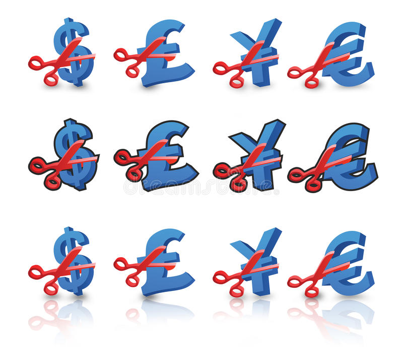 Price Cut Images. American US Dollar, pound, yen and euro signs being cut in half by a pair of scissors indicating a sale or money savings. Three sets with non vector illustration