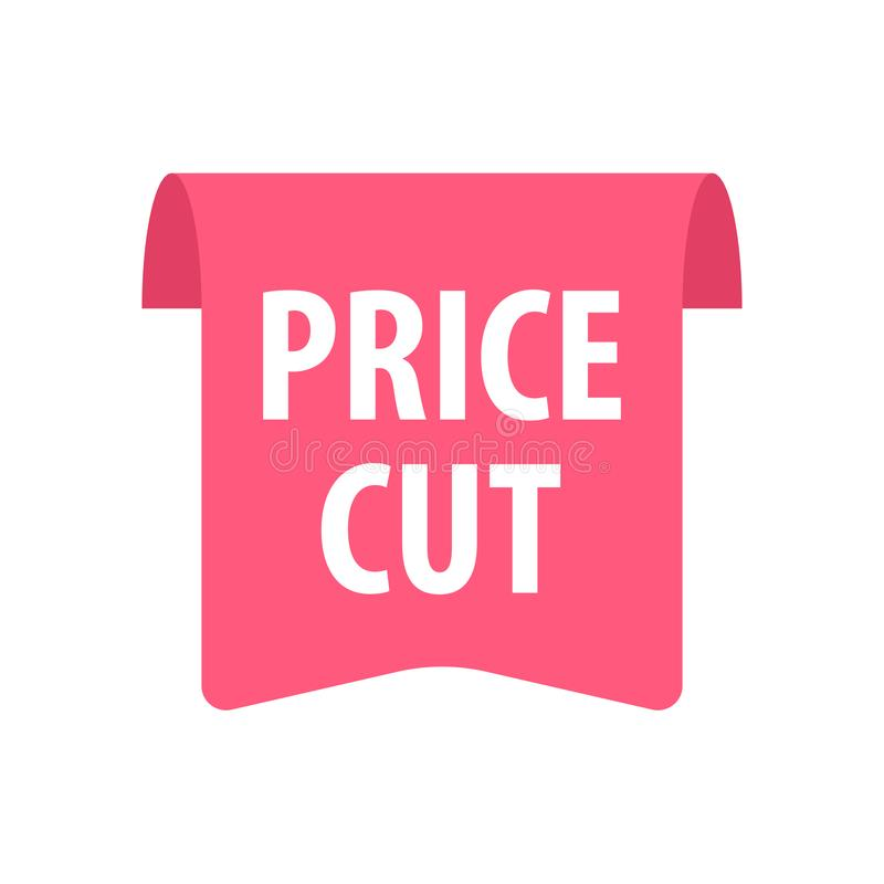 Price cut Label. Isolated on white. Red color. Vector illustration stock illustration