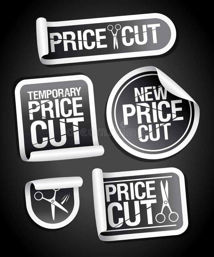 Price cut sale stickers. Set vector illustration