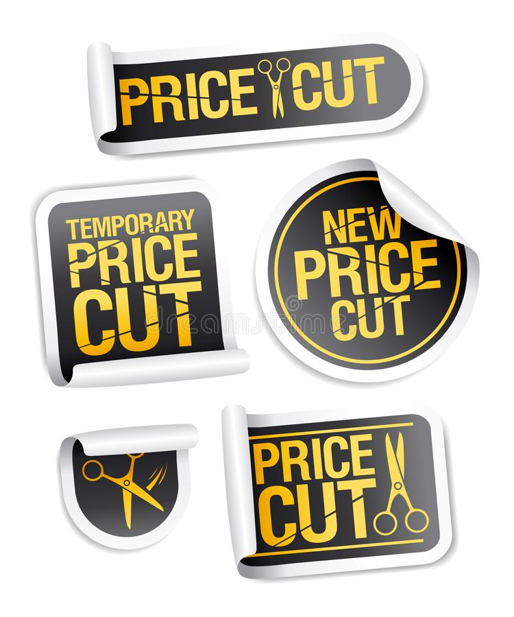 Price cut sale stickers. Vector set stock illustration