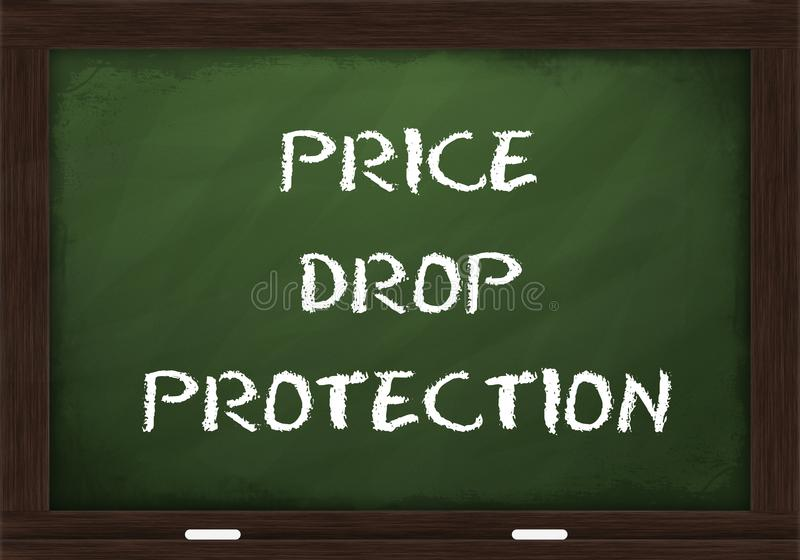 Price drop protection sign on chalkboard royalty free stock photography