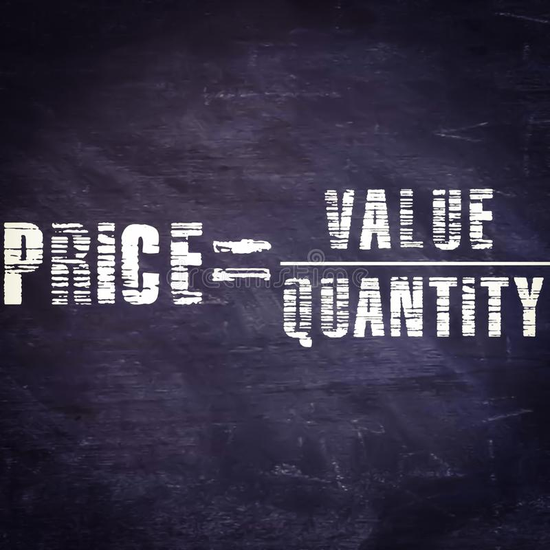 price equal to value upon quantity equation written on chalkboard with illustrations royalty free stock images