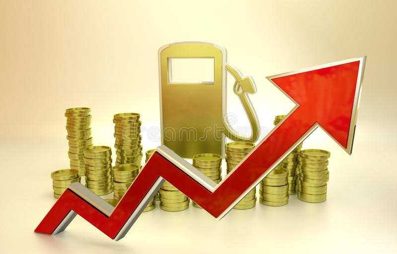 The price of fuel rising up vector illustration