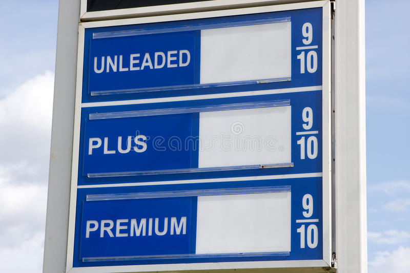 Price Of Gas Sign. Sign that usually shows price of gas with no numbers. Fill in your own prices royalty free stock photo