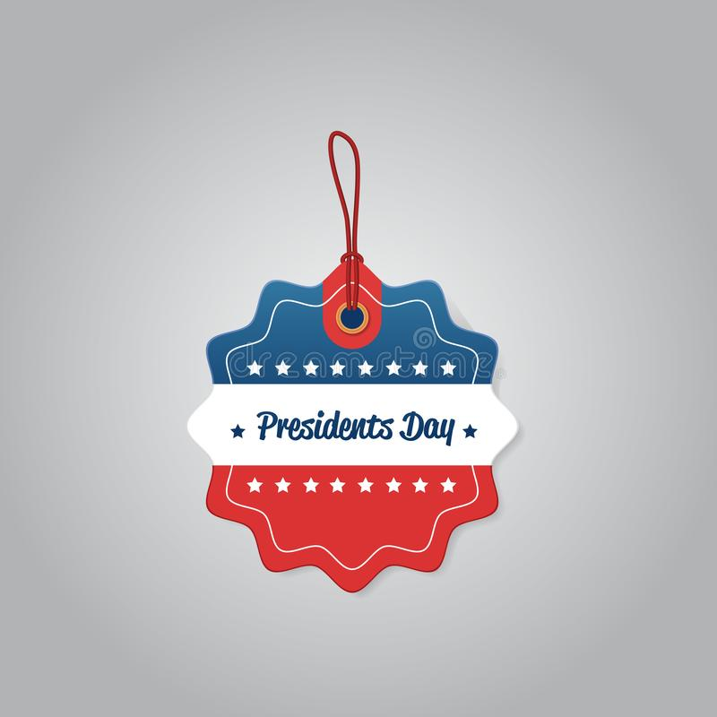 Price label tag happy presidents day holiday big sale concept american flag colors badge special offer discount flat. Gray background vector illustration royalty free illustration