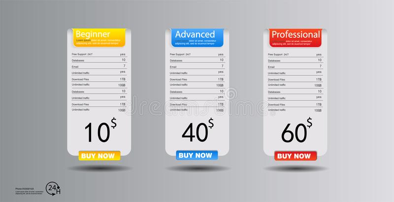 Price list, hosting plans and web boxes banners design. three tariffs. interface for the site. ui ux vector banner for web app. royalty free illustration