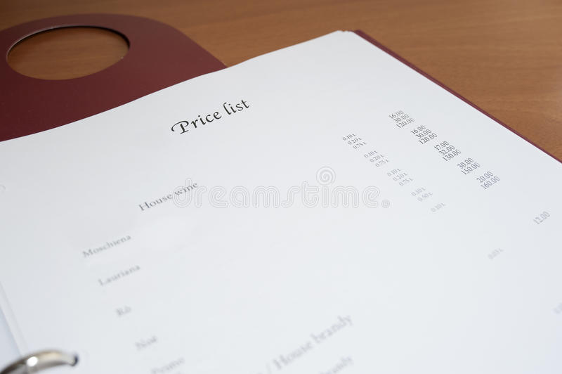 Price list. In Hotel Room info book royalty free stock photos