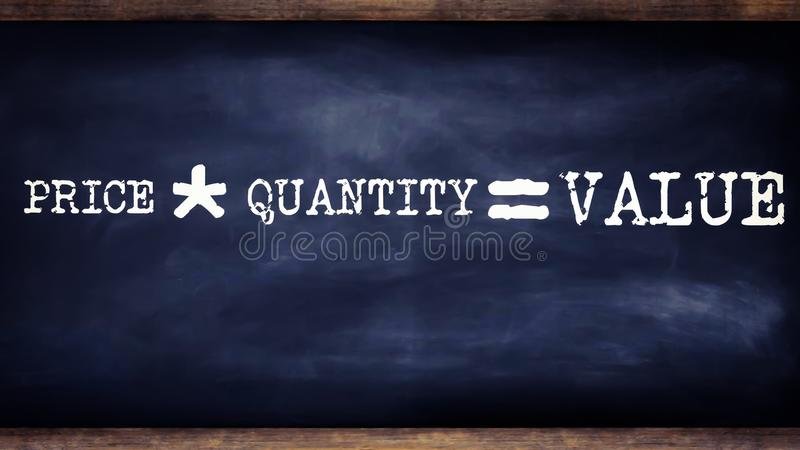 price multiplication by quantity equal to value business related terminology displayed on chalkboard illustrations vector illustration