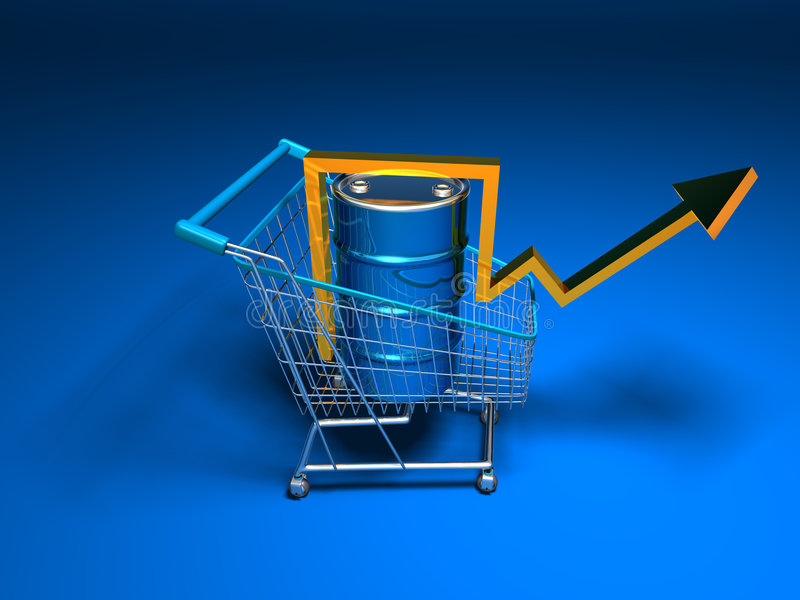 Price of oil going up stock illustration