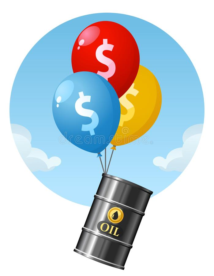 Price of oil is rising. Balloons lift up a barrel of oil. stock illustration