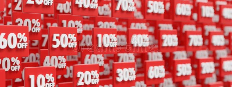 Price reduction discount buttons background, 3D render. Price reduction discount buttons background banner, 3D render illustration vector illustration