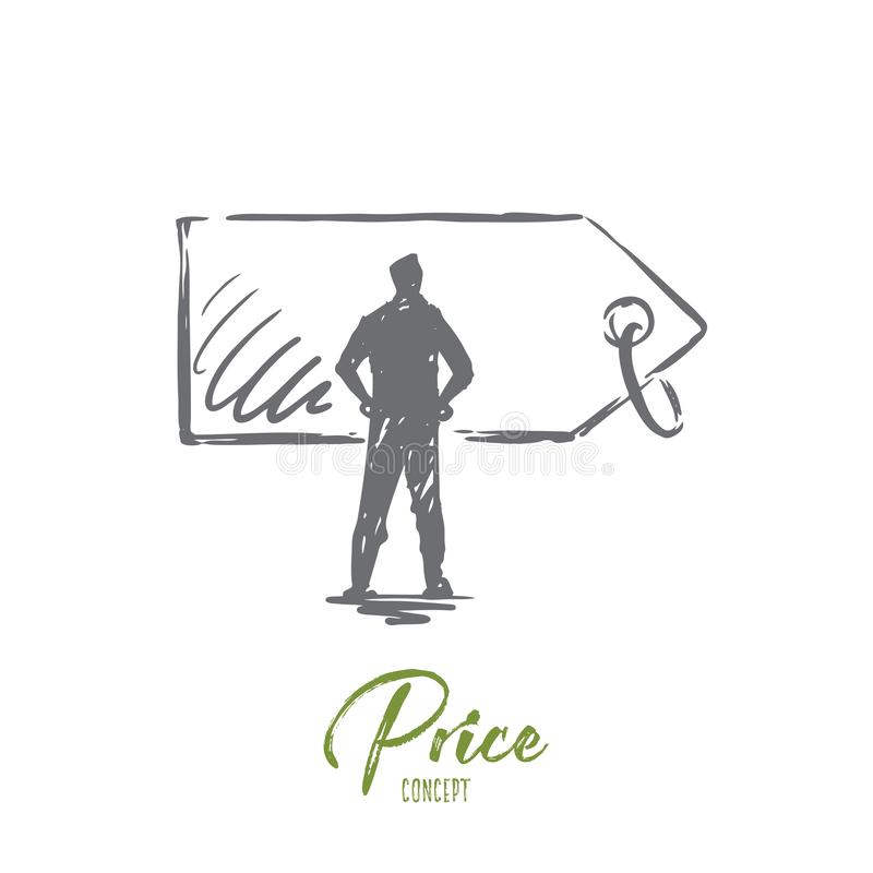 Price, sale, tag, discount, label concept. Hand drawn isolated vector. Price, sale, tag, discount, label concept. Hand drawn man and price label concept sketch royalty free illustration