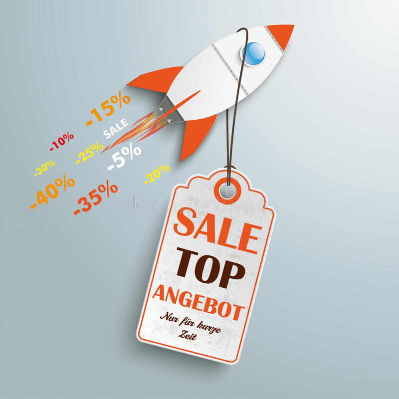 Price Sticker Angebot Rocket stock illustration