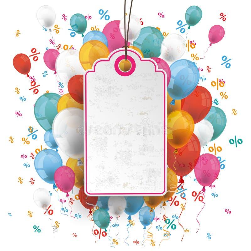 Price Sticker Balloons Percents Confetti royalty free illustration