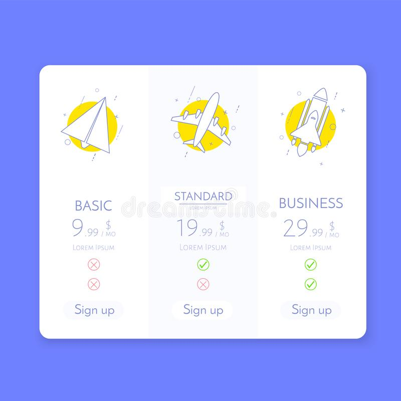 Price table. Chart infographic of pricing. Vector royalty free illustration