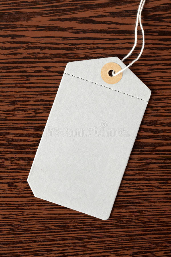Price tag. On wooden background stock photo