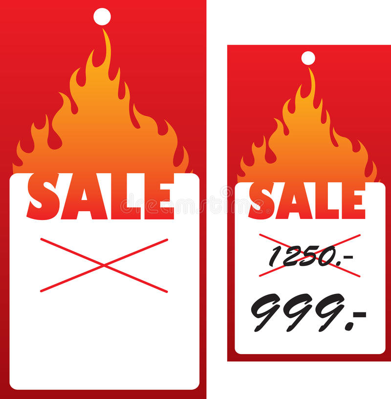 Price tag with flame. vector illustration