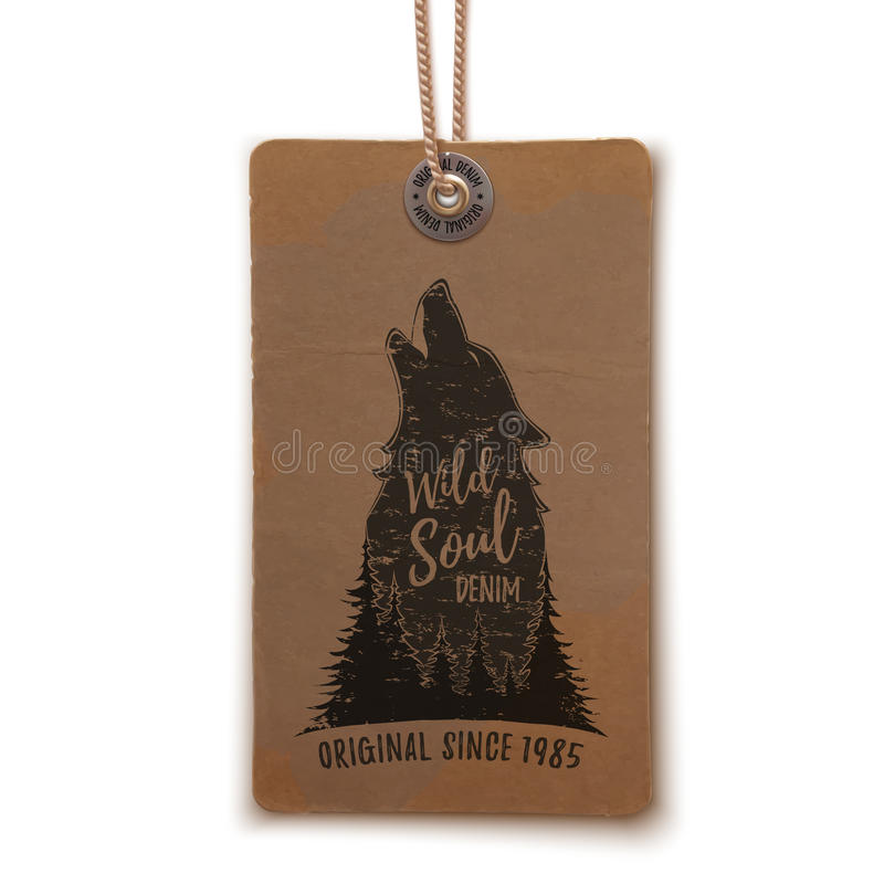 Price tag with howling wolf. Howling wolf in the forest logo template on realistic, vintage price tag on white. Vector illustration royalty free illustration