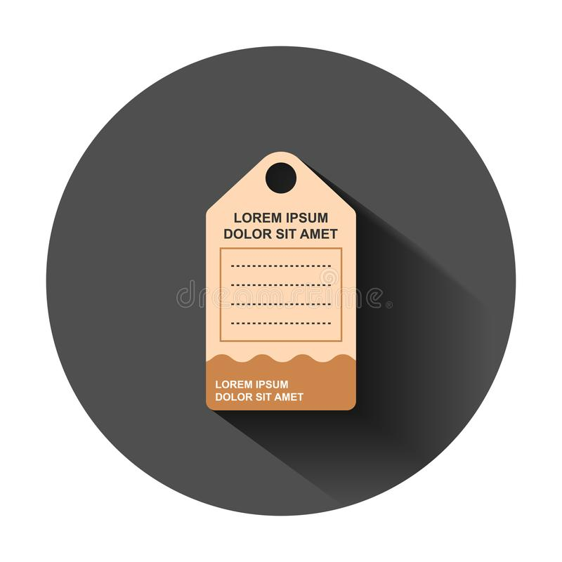 Price tag icon in flat style. Coupon label vector illustration on black round background with long shadow. Sale sticker business vector illustration