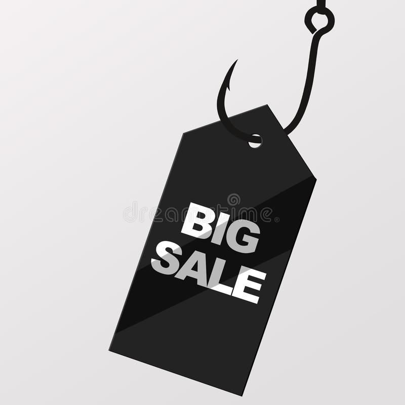 Price tag label with big sale inscription hanging on hook royalty free illustration