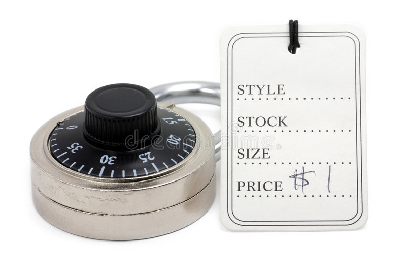 Price tag and lock royalty free stock images