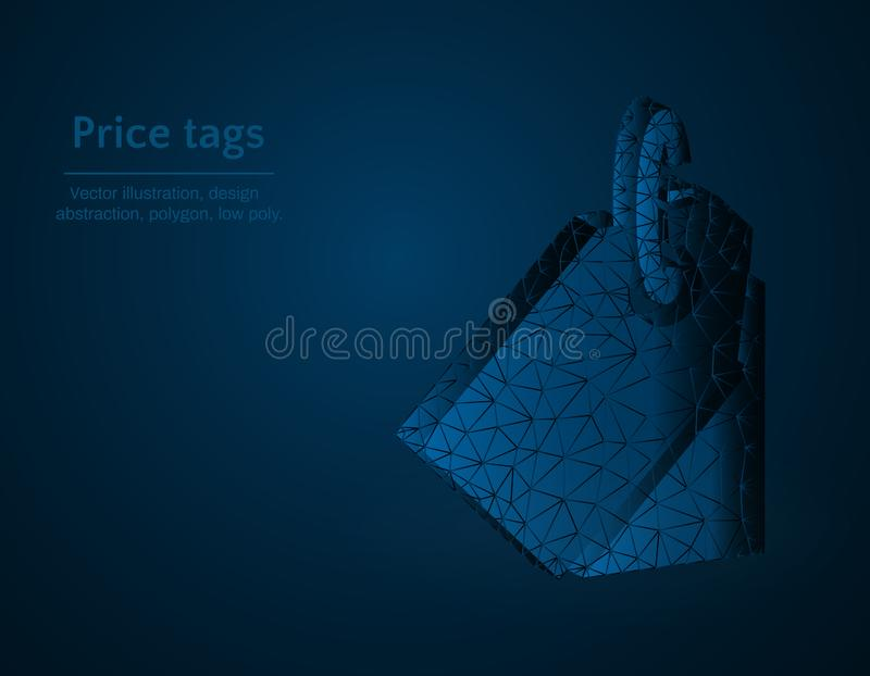 Price tag symbol low poly vector illustration, shortcuts polygonal icon, Trade and purchase concept illustration. Dark blue background vector illustration