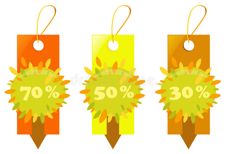 Price tags - autumn sale stock illustration