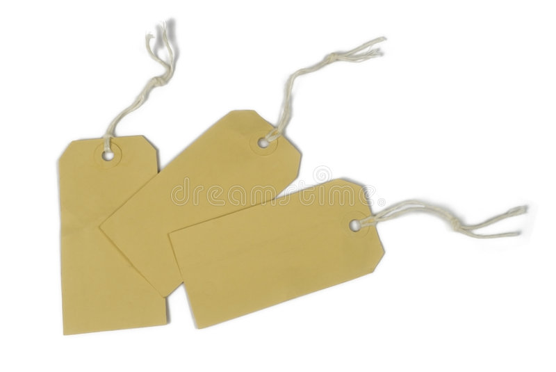 Price tags tied with string stock photo