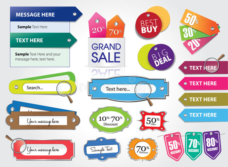Price tags and web elements. Set of price tags and web elements