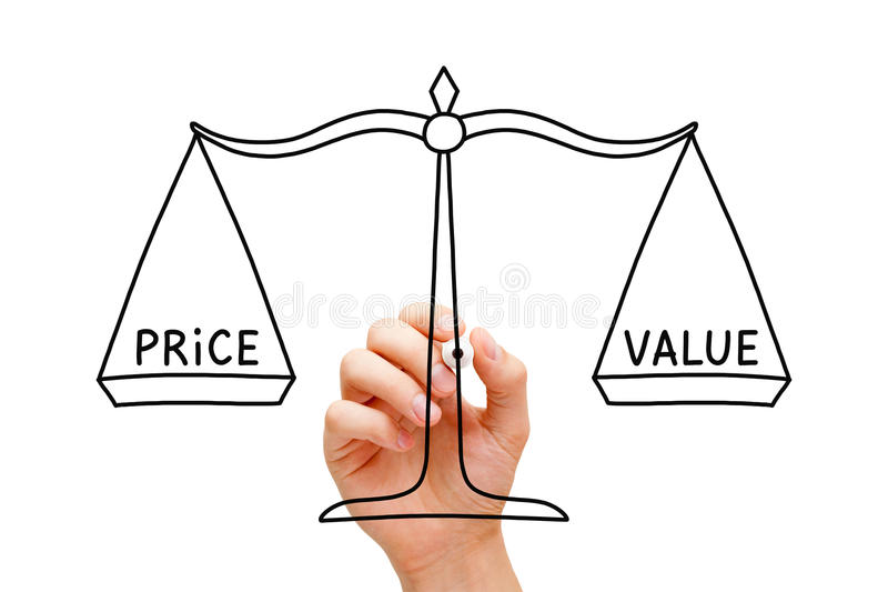 Price Value Balance Scale Concept. Hand drawing Price Value balance scale concept with black marker on transparent wipe board isolated on white stock photos