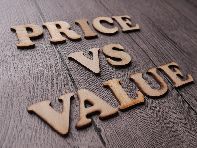 Price vs Value, Motivational Words Quotes Concept stock images