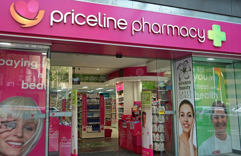 Priceline Pharmacy store on Oxford st. Priceline is one of the largest Australian health and beauty retailers, owned and operated stock photography