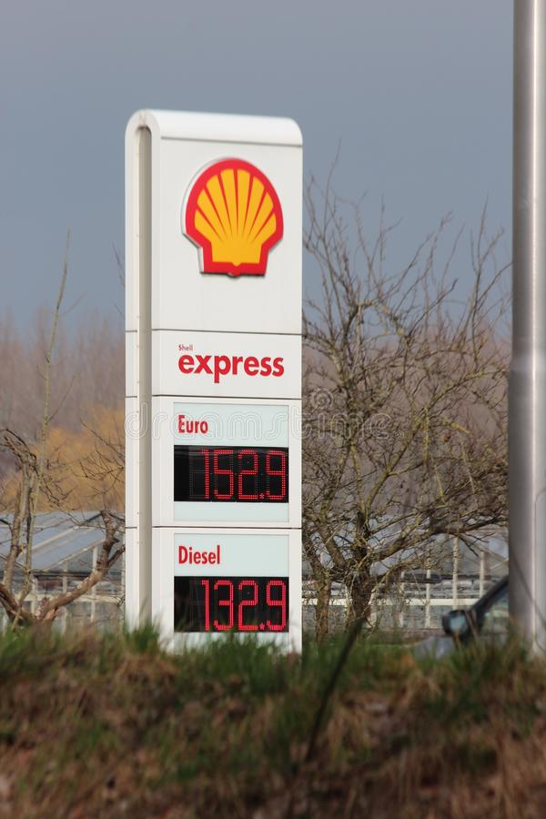 Prices per liter in Euro at a Petrol station of Shell express without personnel at the N219 in Nieuwerkerk aan den IJssel. stock photography