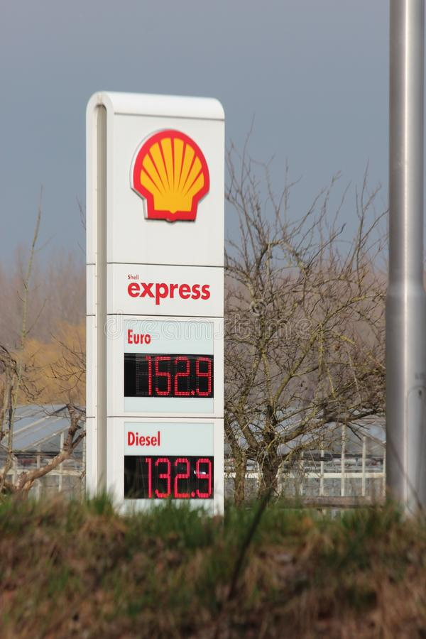 Prices per liter in Euro at a Petrol station of Shell express without personnel at the N219 in Nieuwerkerk aan den IJssel. royalty free stock photography