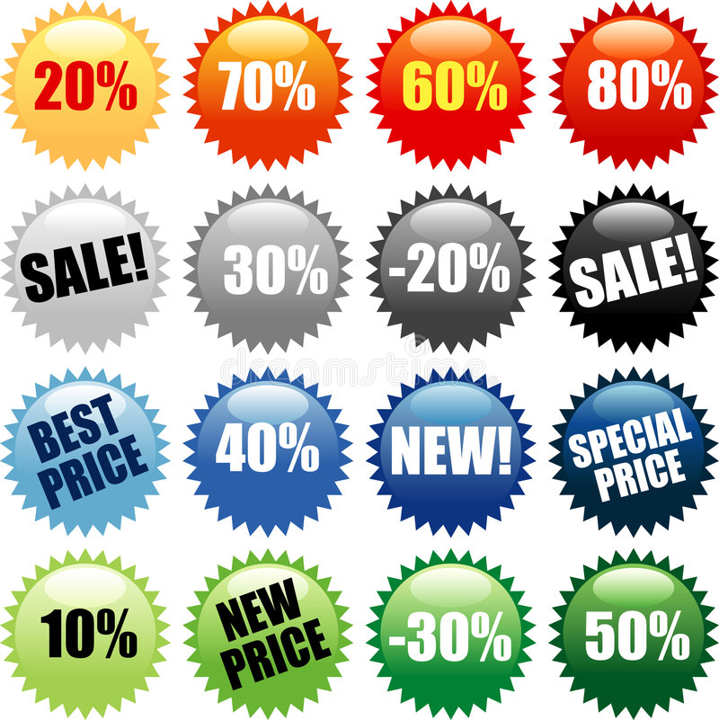 PRICESTICKERS. Vector stars for discount prices with text in different layer
