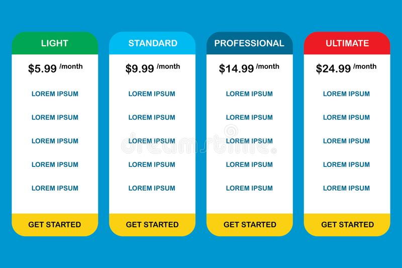 Pricing plans.Stock Vector royalty free illustration