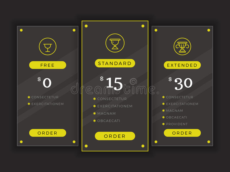 Pricing Table Comparison Chart Vector Template Stock Vector
