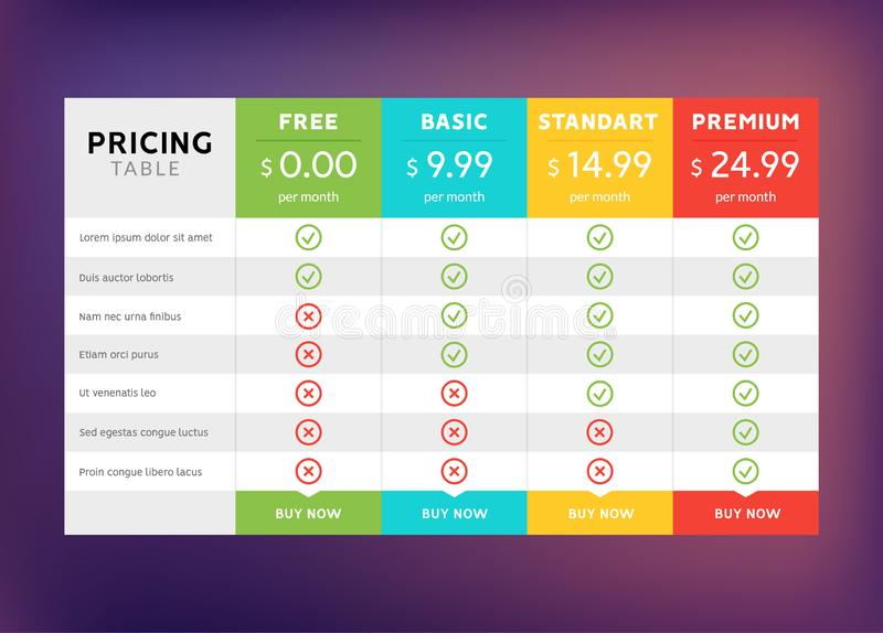 Pricing table design for business. Price plan web hosting or service. Table chart comparison of tariff.  stock illustration
