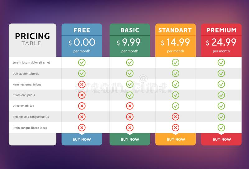 Pricing table design for business. Price plan web hosting or service. Table chart comparison of tariff.  royalty free illustration