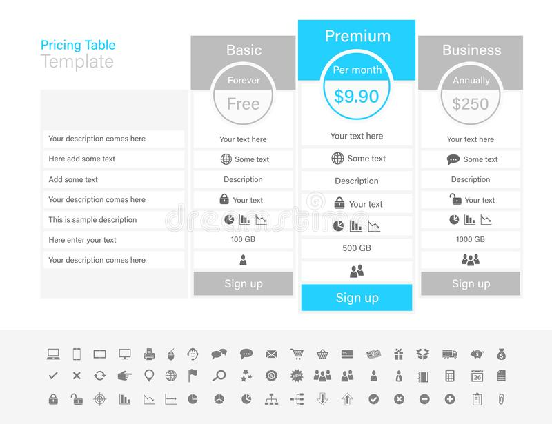 Pricing table with 3 plans and one recommended. Li royalty free illustration