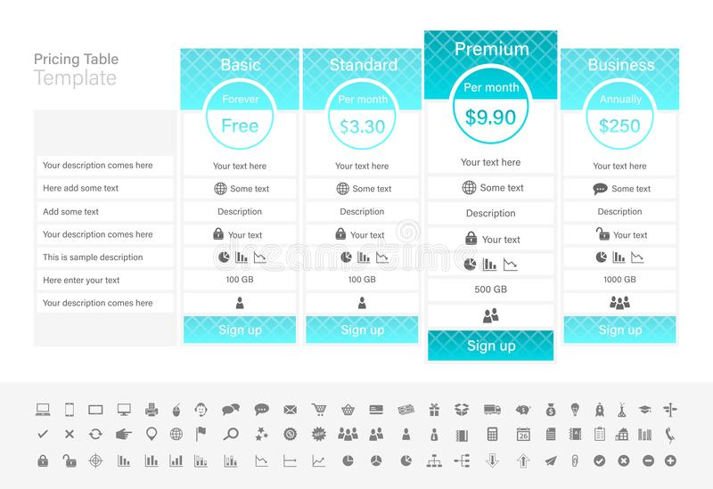 Pricing table with 4 plans with turquoise header. stock illustration