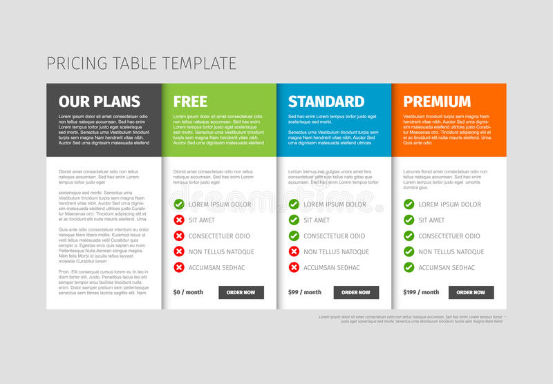 Pricing table template stock vector. Illustration of collection ...