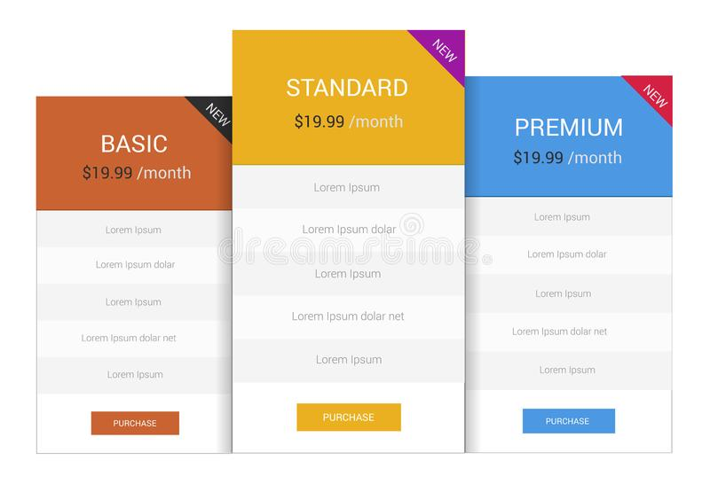 Pricing Table stock photo