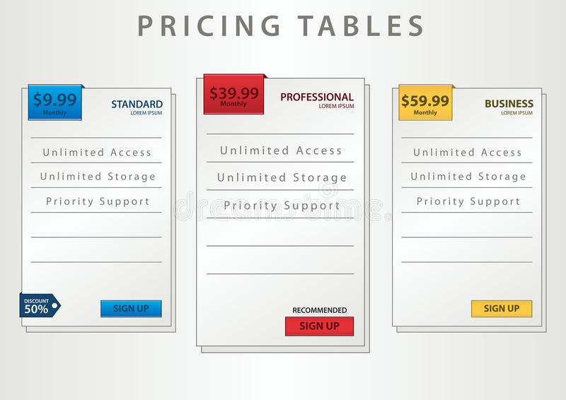 Pricing tables royalty free illustration